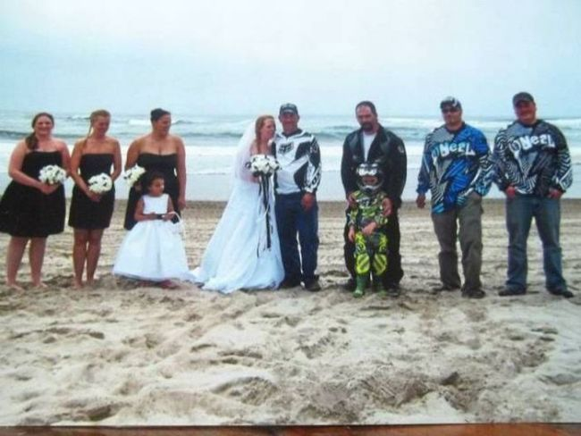 what a redneck wedding looks like, biker jacket instead of tuxedo at a wedding