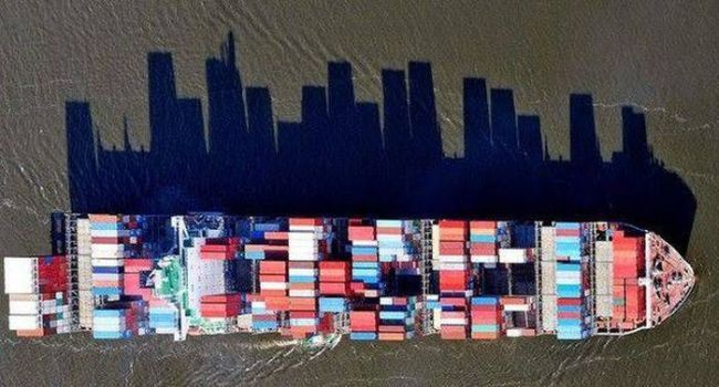 shipping boat's shadow looks like a city scape