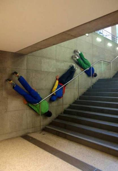 planking in the stairway, wtf