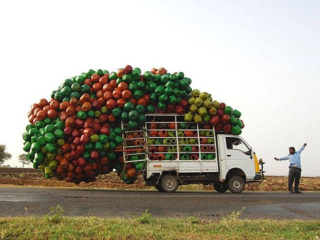 when you have to do it in one trip, overloaded truck