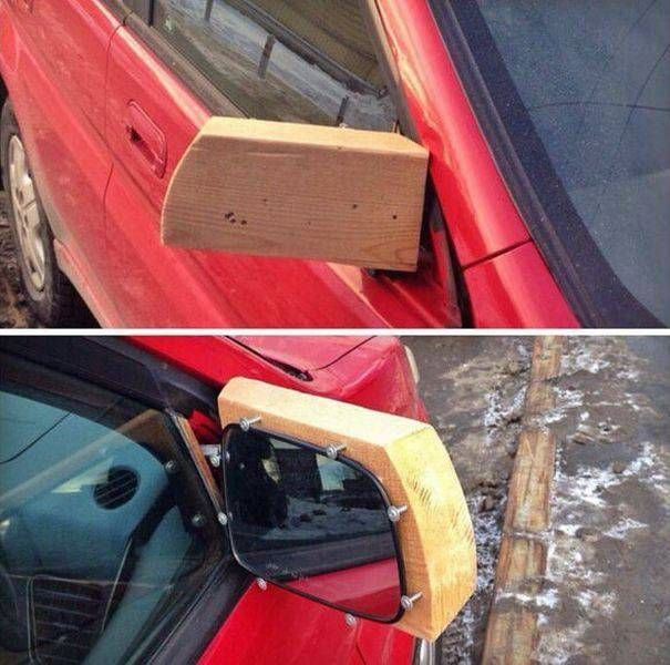 makeshift wooden side car mirror, it's okay i'm an engineer