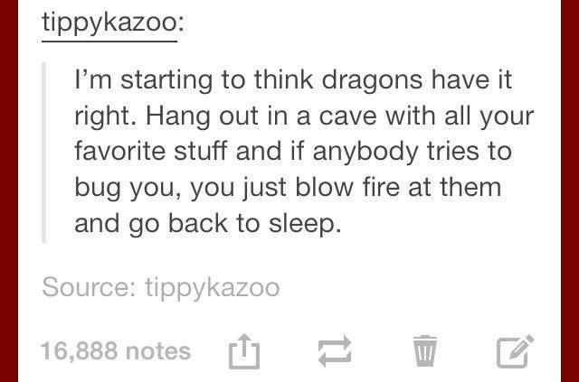 i'm starting to think dragons have it right, hang out in a cave with all your favorite stuff and if anybody tries to bug you, you just blow fire at them and go back to sleep