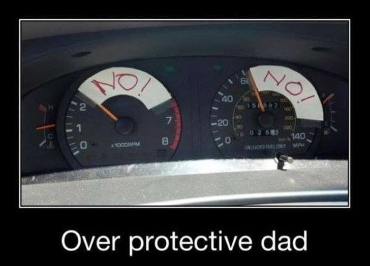 over protective dad in the car, no no!