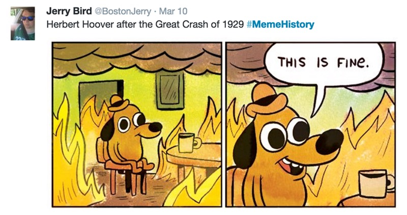 herbert hoover after the great crash of 1929, this is fine, memehistory