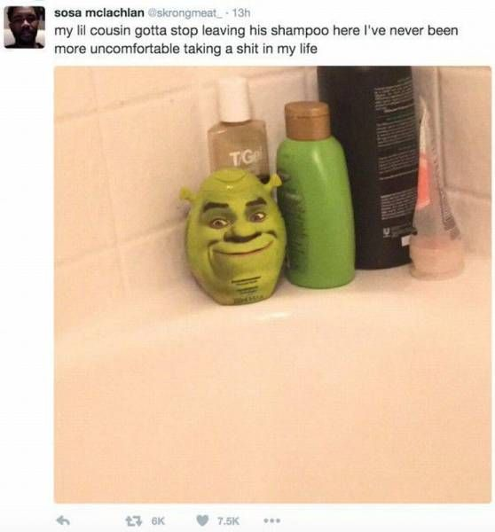 my lil cousin gotta stop leaving his shampoo here, i've never been more uncomfortable taking a shit in my life, shrek head shampoo bottle