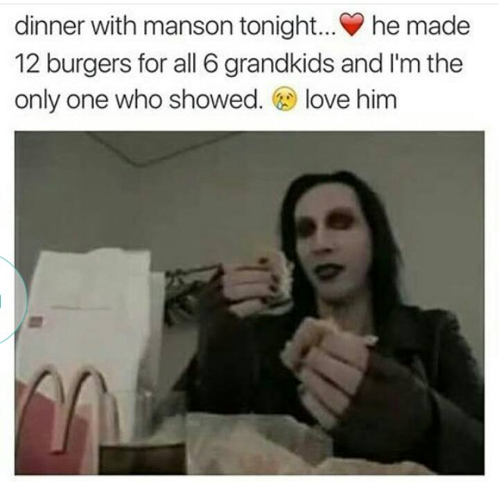 dinner with manson tonight, he made 12 burgers for all 6 grandkids and i'm the only one who showed, love him
