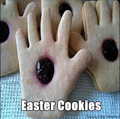 easter cookies, palm with jelly center, oh jesus