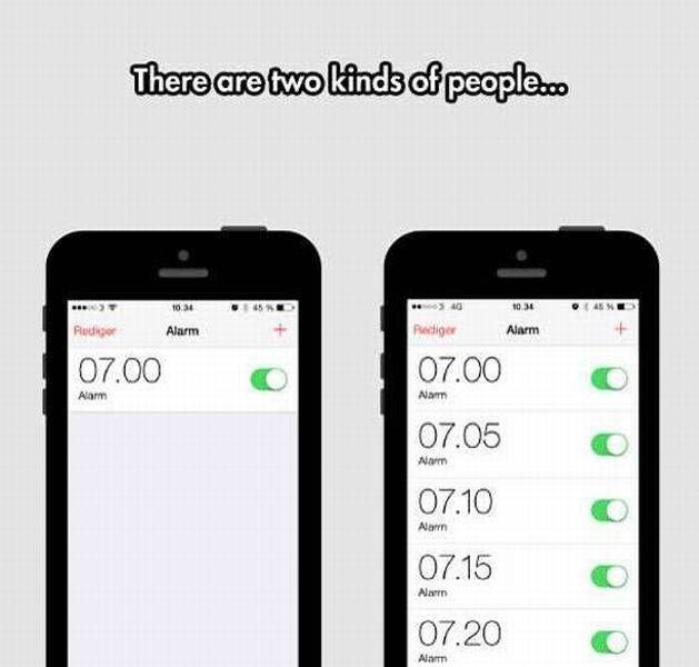 there are two kinds of people, alarm clock settings