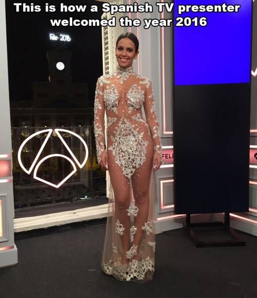 this is how a spanish tv presenter welcomed the year 2016, see through diamond dress