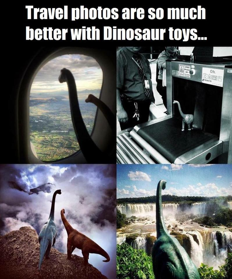 travel photos are so much better with dinosaur toys