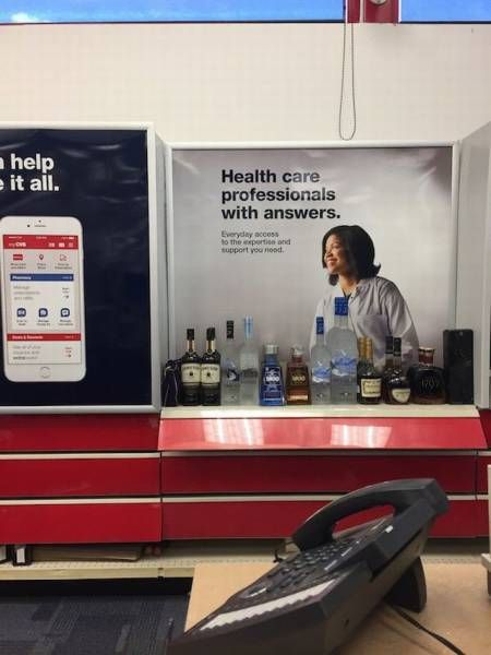 health care professionals with answers, hard alcohol display