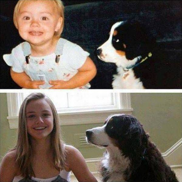 then and now of girl and her dog