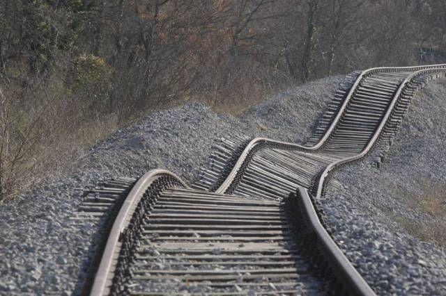 train tracks after a landslide