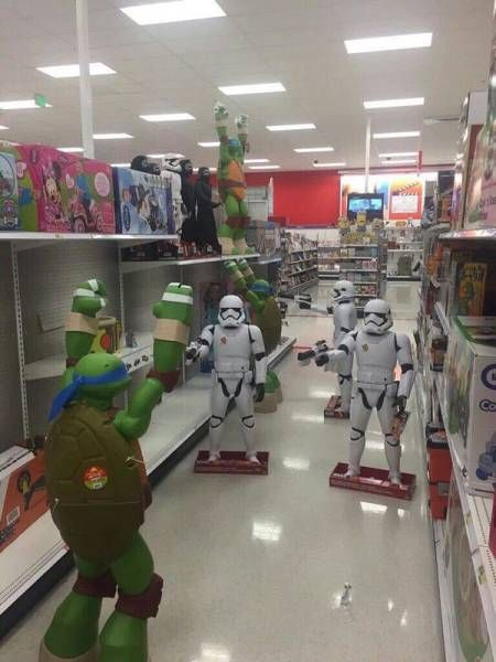 star wars storm trooper versus leonardo from the teenage mutant ninja turtles