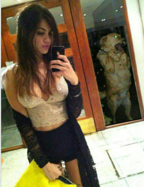 selfie girl photobombed by zombie dog