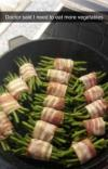 doctor said i need to eat more vegetables, asparagus wrapped in bacon