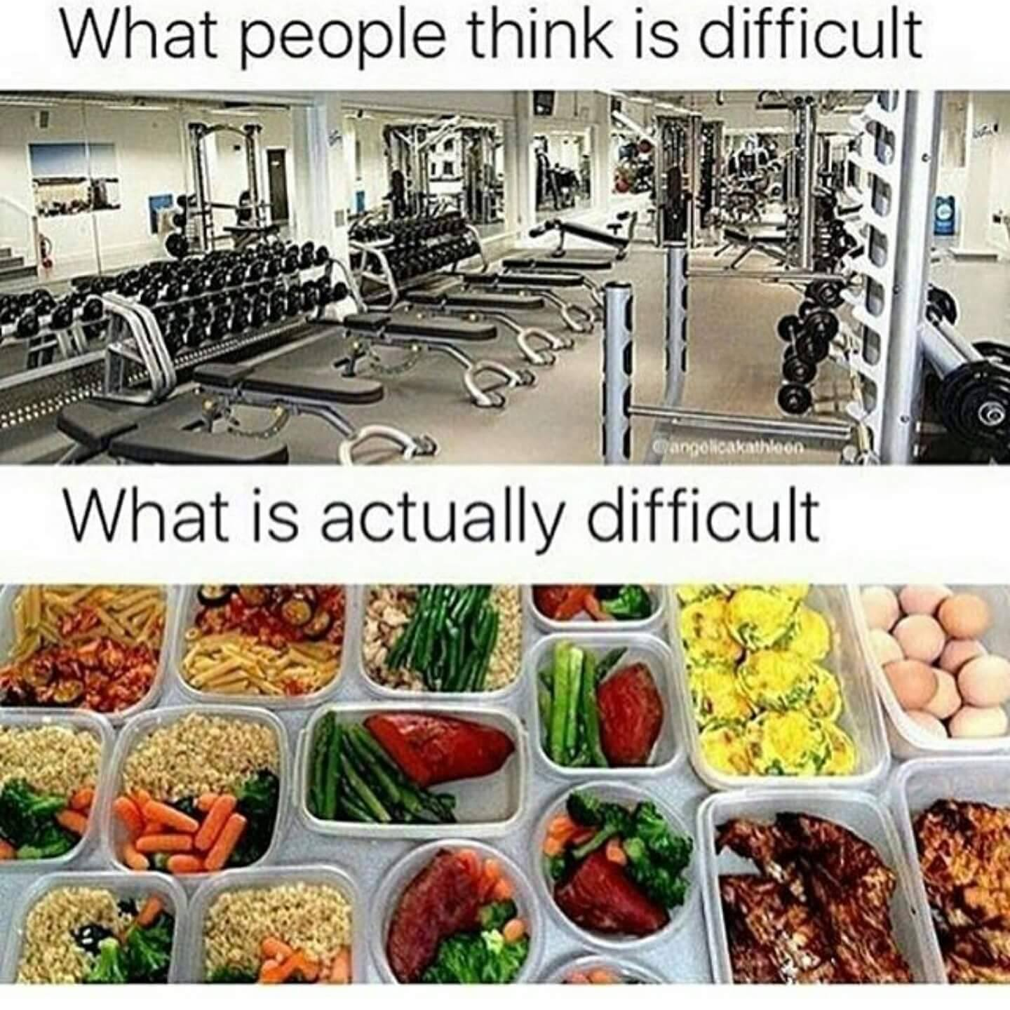what people think is difficult, what is actually difficult, the gym versus healthy eating