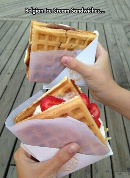 belgian ice cream sandwiches, whipped cream strawberries in waffle