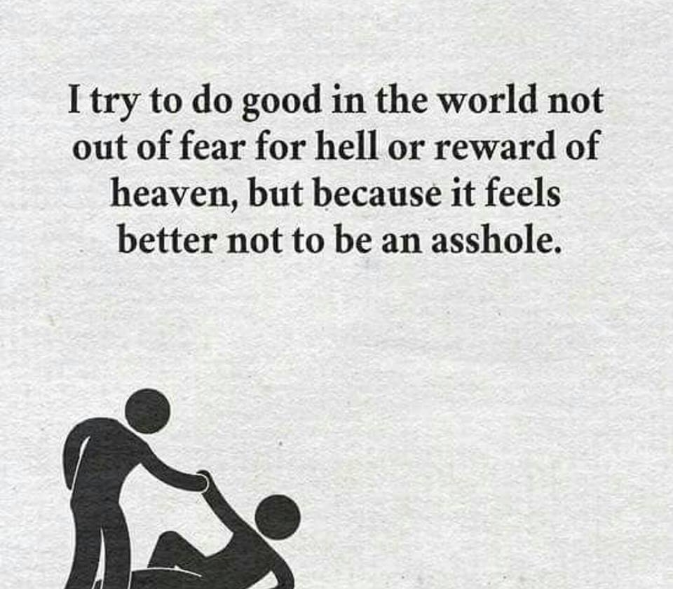i try to do good in the world not out of fear for hell or reward of heaven, but because it feels better not to be an asshole