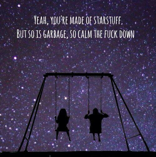 yeah you're made of stardust but so is garbage so calm the fuck down