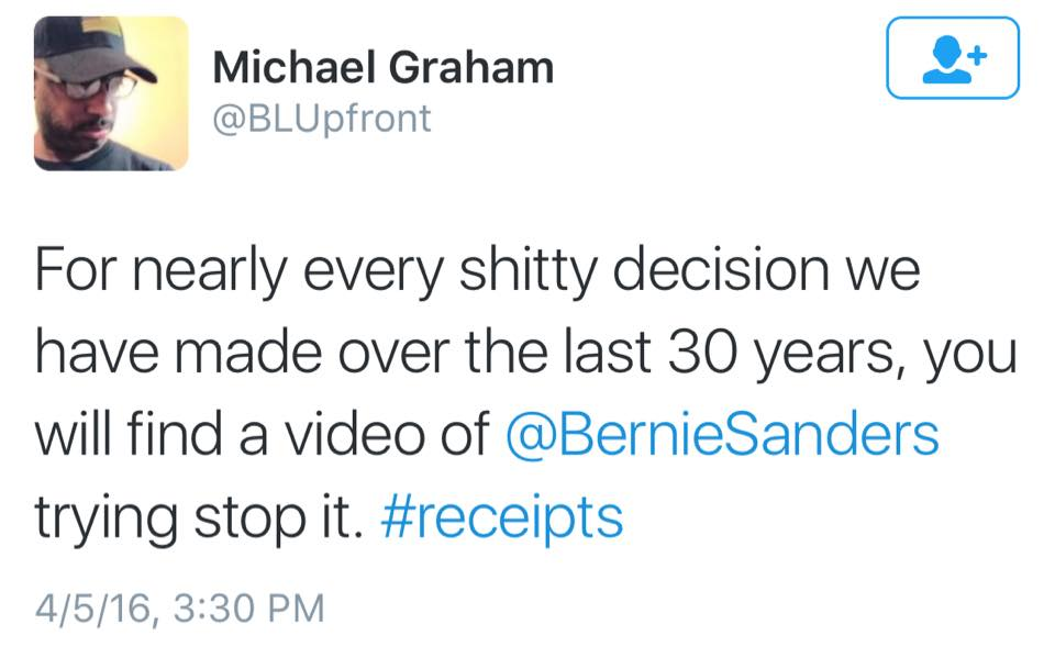 for nearly every shitty decision we have made over the last 30 years, you will find a video of bernie sanders trying to stop it