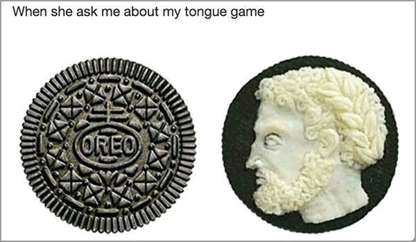 when she asks me about my tongue game, perfectly chased roman face in oreo cream, cookie art
