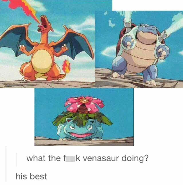 what the fuck venasaur doing?, his best