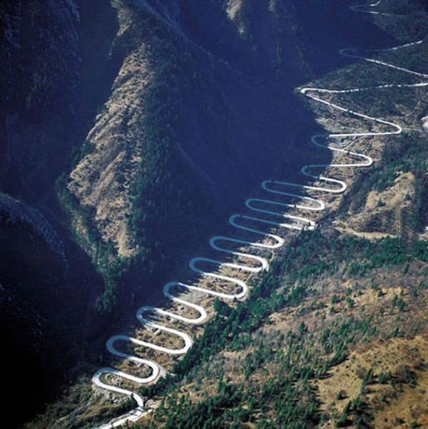 worst road ever, coiled road up hill