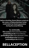 before shooting emma watson acted out the scene so helena bonham carter could mimic her facial expressions during the actual filming, bellaception