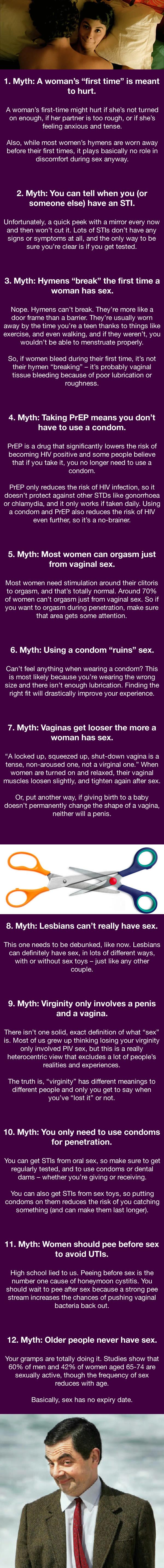 12 myths about sex, infographic
