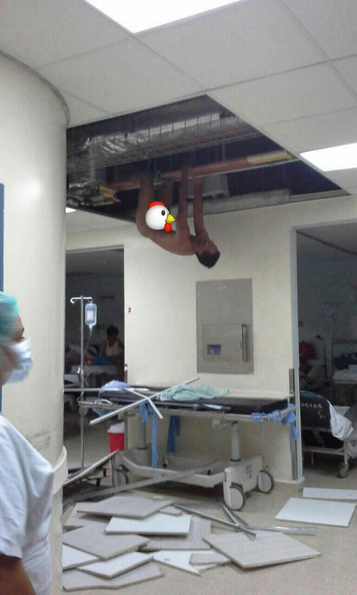Legs Hanging Down From Ceiling