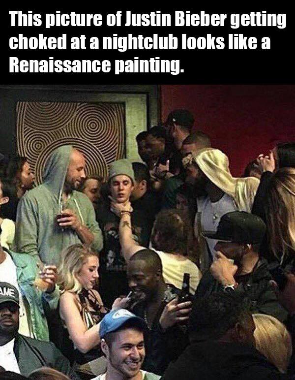 this picture of justing bieber getting choked at a nightclub looks like a renaissance painting