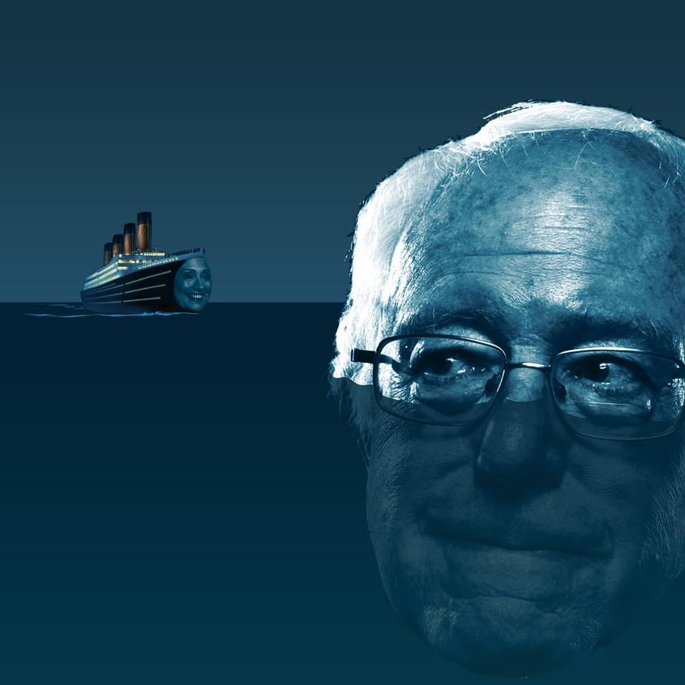bernie sanders is the iceberg in front of hillary the titanic