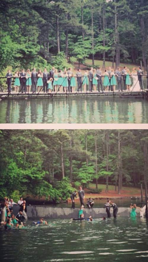 before and after the great collapse, dock topples with wedding party on it