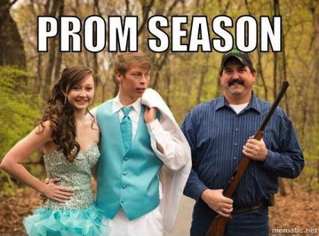 prom season, girl and boy next to dad with shotgun, meme