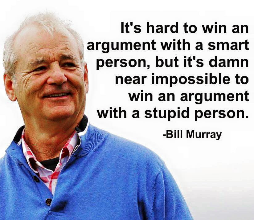it's hard to win an argument with a smart person, but it's damn near impossible to win an argument with a stupid person, bill murray