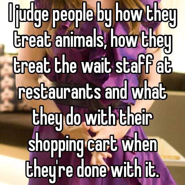 i judge people by how they treat animals, how they treat the wait staff at restaurants and what they do with their shopping cart when they're done with it