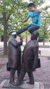jump kick to the statue head, statue art