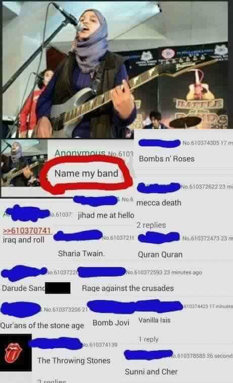 when you ask the internet and regret it, name my band, culturally insensitive band names