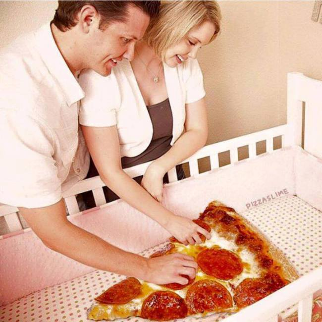 proud parents of giant pizza slice, wtf