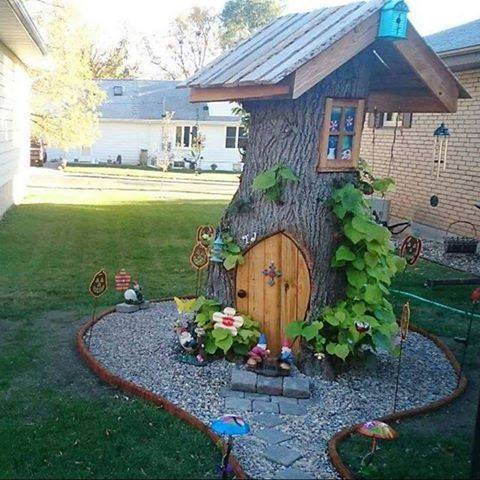 the only thing to do with a tree stump in your yard, hobbit house