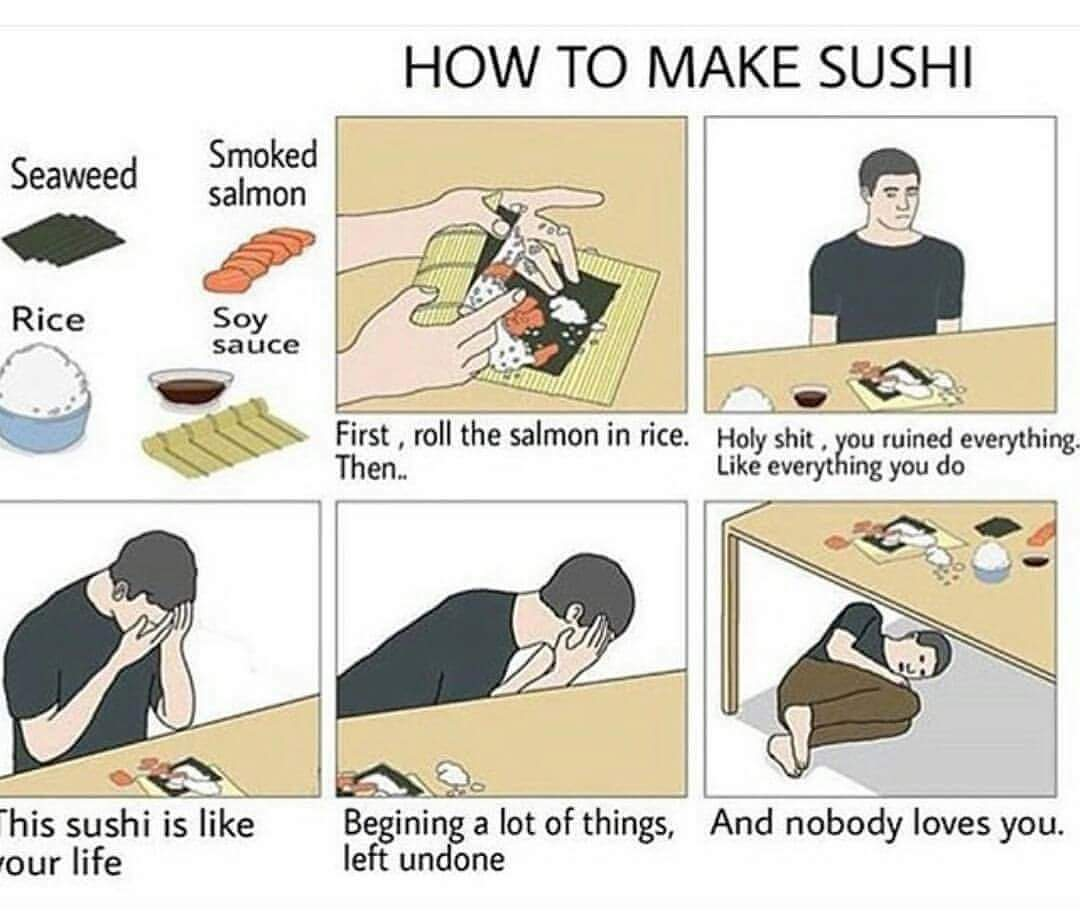 how to make sushi, seaweed, smoked salmon, rice, soy sauce, roll the salmon in rice, holy shit, you ruined everything, life everything you do