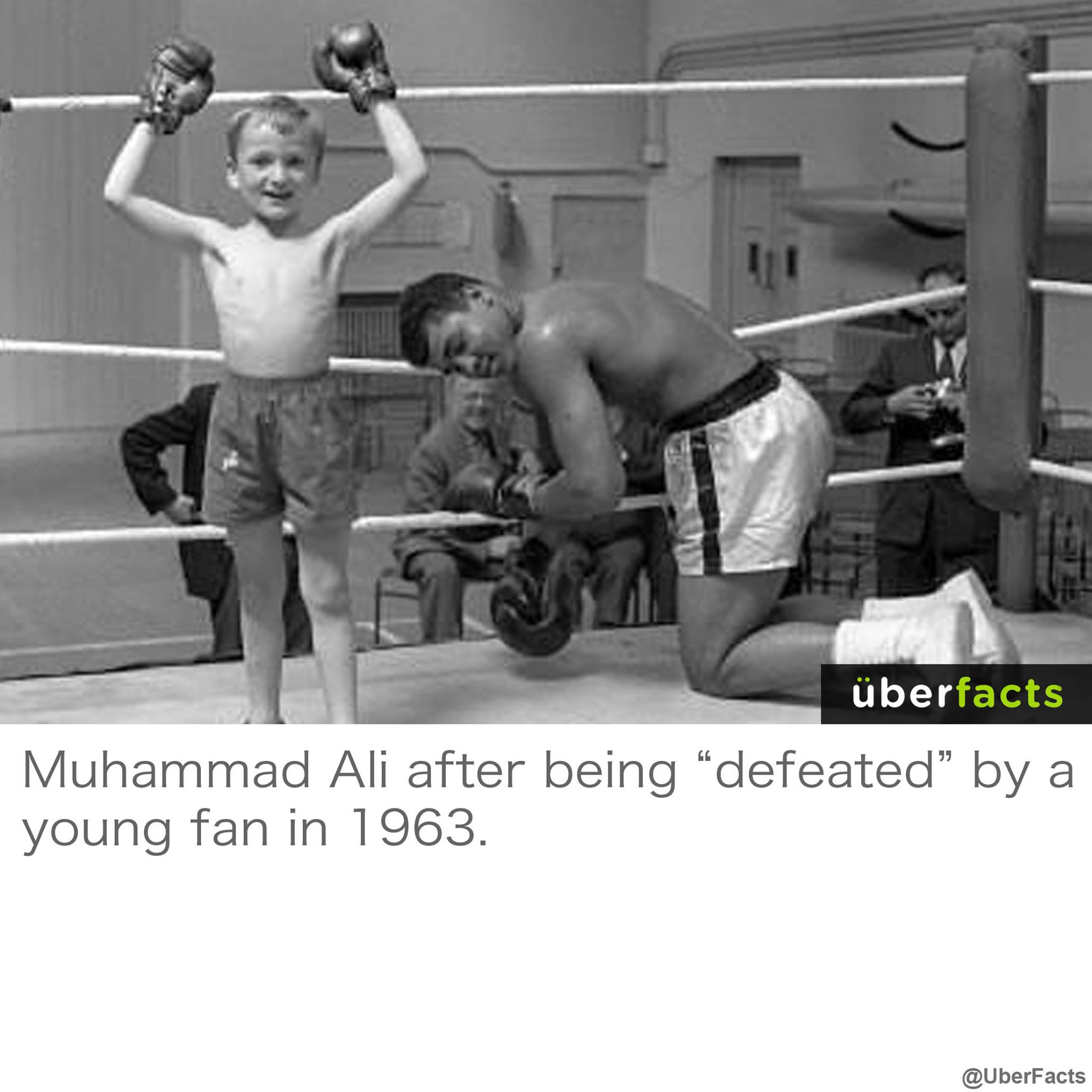 muhammad ali after being defeated by a young fan in 1963