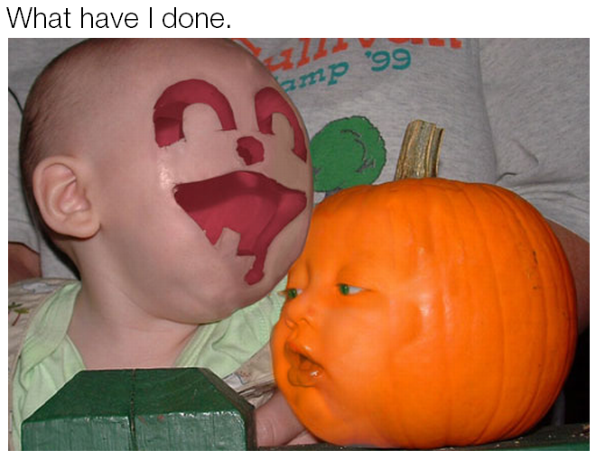 what have i done, face swap with a pumpkin