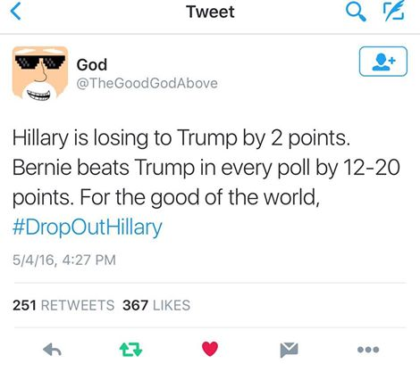 hillary is losing to trump by 2 points, bernie beats trump in every poll by 12-200 points, for the good of the world, drop out hillary