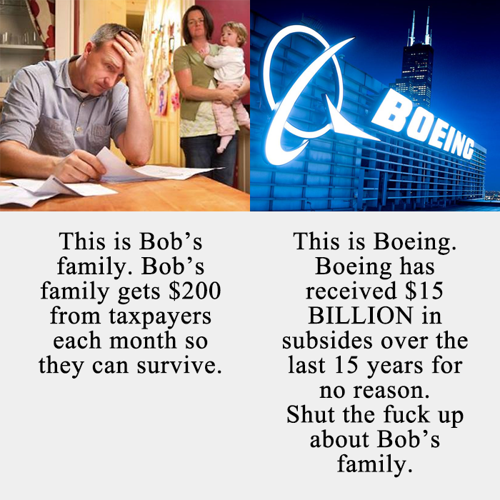 this is bob's family, bob's family gets 200$ from taxpayers each so they can survive, this is boeing, boeing has received $15 billion in subsides over the last 15 years for no reason, shut the fuck up about bob's family