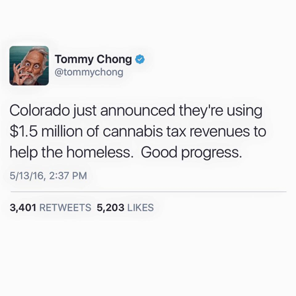 colorado just announced they're using $1.5 million of cannabis tax revenues to help the homeless, good progress