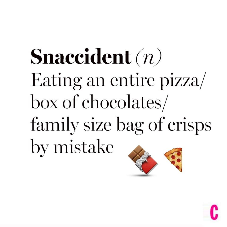 snaccident, eating an entire pizza, box of chocolates, family sized bag of chips, by mistake