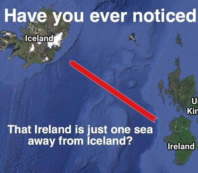 have you ever noticed that ireland is just one c away from iceland