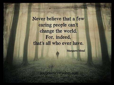 never believe that a few caring people can't change the world, for indeed that's all who ever have